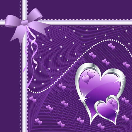 Purple love hearts and bow for valentines day or any romantic event. Copy space for text. Vector