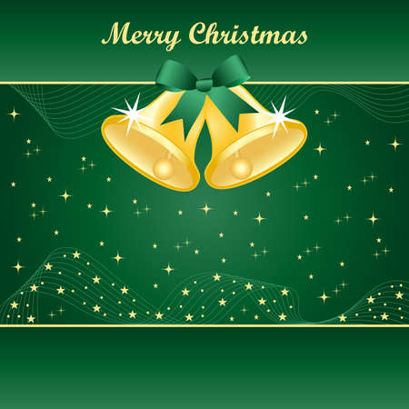 Gold christmas bells with pretty bow and yellow stars on a green background. Copy space for text. Stock Vector - 8170083