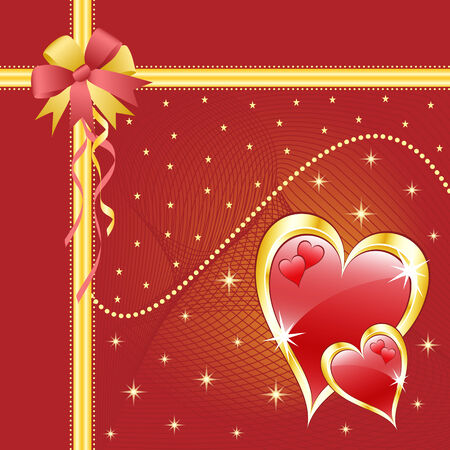 Red love hearts and bow for valentines day or any romantic event. Copy space for text. Vector