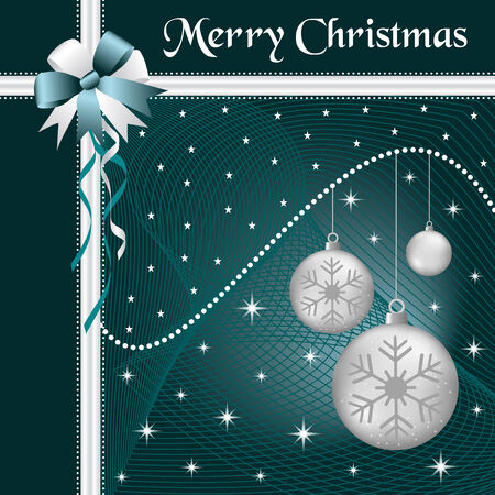 Silver christmas balls with dark blue and silver bow and ribbon, decorated with stars on a dark blue glowing background. Vector