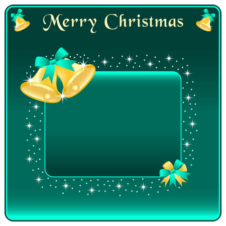 Christmas bells in gold, green bow and stars. Copy space for text. Stock Vector - 8340867
