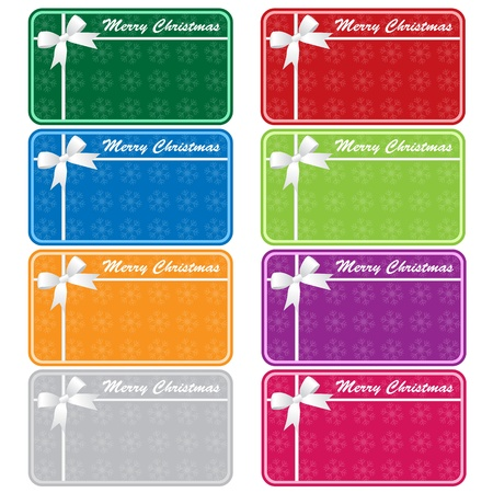 Christmas gift tags in 8 assorted colors with bows and snowflakes. Copy space for text. Isolated on white. Vector
