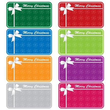 Kerst cadeau codes in 8 verschillende kleuren met bogen en sneeuwvlokken. Kopieer ruimte voor tekst. Geïsoleerd op wit.