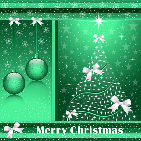 Christmas tree, balls, bows, stars, snowflakes and snow on a green background. Stock Vector - 8340868
