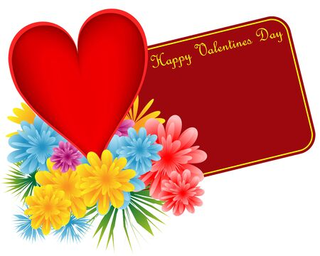Valentine red heart, bouquet of flowers and a happy valentines day gift tag. Isolated on white. Copy space for text. Stock Vector - 8340870
