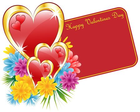 Valentine red and gold hearts, flowers and a happy valentines day gift tag. Isolated on white. Copy space for text. Stock Vector - 8413679