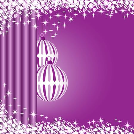 Christmas scene with hanging ornamental purple striped xmas balls, snowflakes and stars. Copy space for text. Stock Vector - 8413680