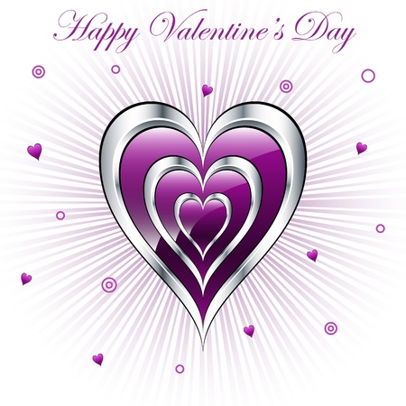 Valentine purple and silver triple hearts with a subtle sunburst background, decorated with small hearts and circles. Vector