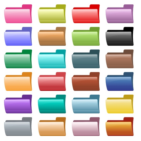 Web folder icons in 24 assorted glossy colors. Isolated on white. Stock Vector - 8550978