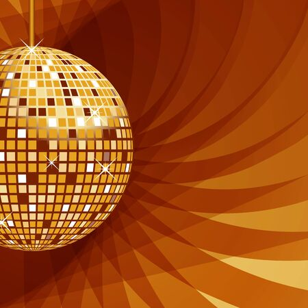 Disco ball in gold with sparkles set on an elegant abstract background. Vector
