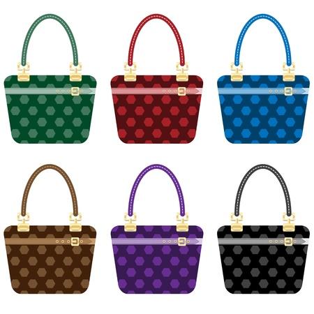 Bolsos de señoras moda establecen en 6 colores. Aislados en blanco. Ilustración de vector