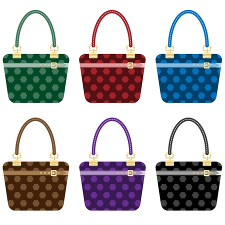 gold buckle: Ladies fashion handbags set in 6 colors. Isolated on white. Illustration