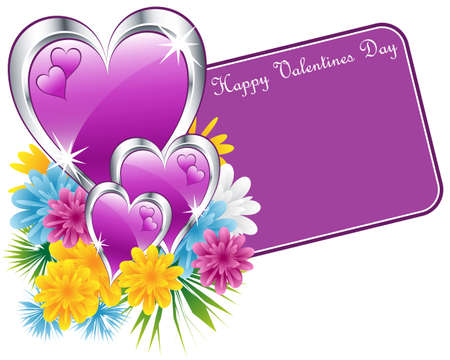 Valentine purple and silver hearts, flowers and a happy valentines day gift tag. Isolated on white. Copy space for text. Stock Vector - 8550979