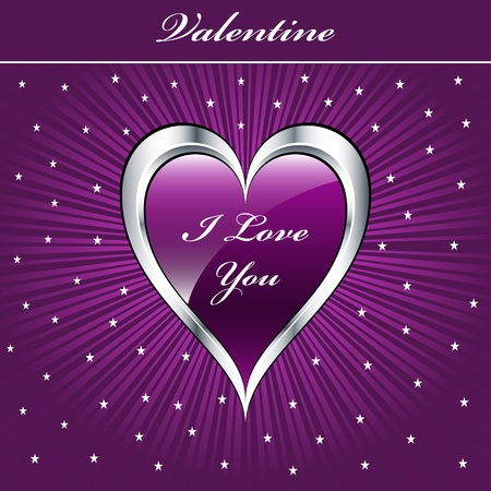 mauve: Valentine love heart in purple and silver on sunburst background with stars. Copyspace for text.