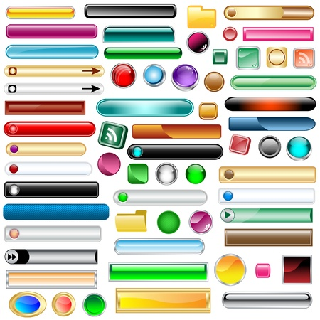 rectangle button: Web buttons collection with 63 scalable assorted colors and shapes inc round, square, rectangles and oval shaped buttons. Isolated on white.