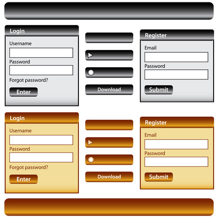 Web design template inc elements with login and register modules, buttons and menu bars in gold and black. Isolated on white. Stock Vector - 8620799
