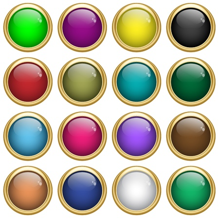 Web buttons round with gold rims in assorted colors. Scalable, isolated on white. Vector
