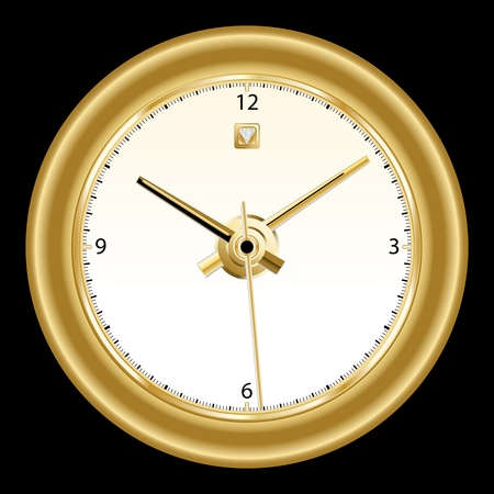 Clock, classic gold rimmed wall clock with golden colored dials. Copy space for text. Isolated on black. Vector