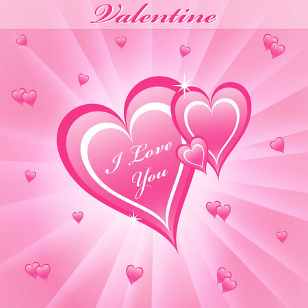 radial background: Valentines day love hearts in pink on a dreamy pink sunburst background.