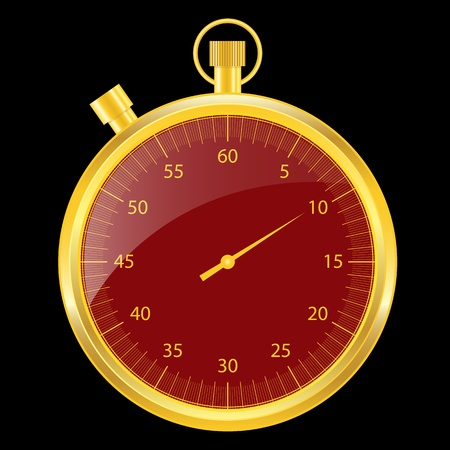 Stopwatch set in a gold case with a red clock face. Isolated on black. Vector