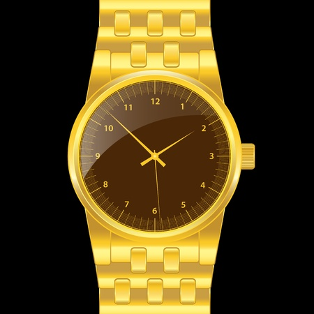 wristwatch: Gold watch with gold wrist band, brown shiny clock face. Classical modern watch. Isolated on black.