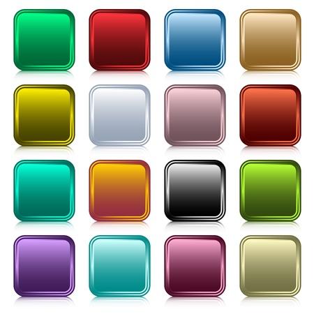 schaalbaar: Knoppen voor het web instellen in 16 afgeronde vierkante geassorteerde kleuren met reflectie. Schaalbare. Geïsoleerd op wit. Stock Illustratie