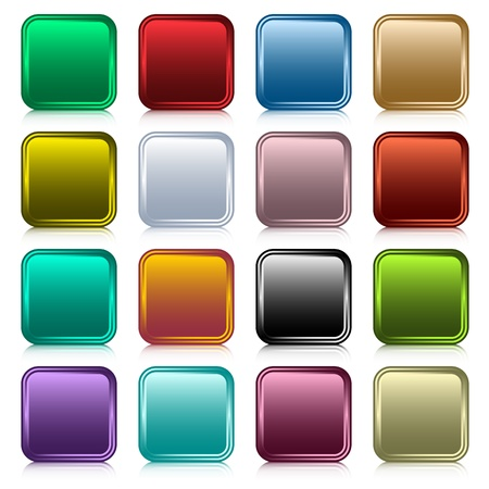 Web buttons set in 16 rounded square assorted colors with reflection. Scalable. Isolated on white. Illustration