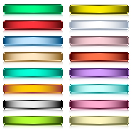 shiny buttons: Web buttons set in 16 assorted colors with reflection. Scalable. Isolated on white. Illustration