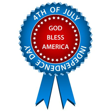 4th of july independence day rosette or badge in american flag colors. Isolated on a white background. Vector