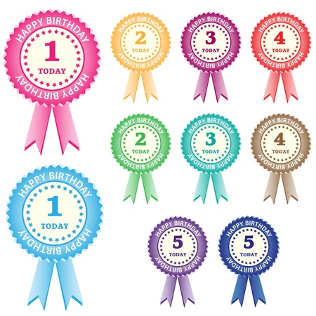 Birthday rosettes for children from 1 year to 5 years in assorted boy and girl colors. Isolated on white.