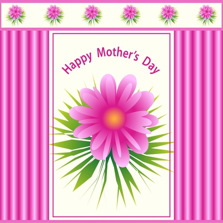 mothering: Mothers day pink flower design with a pattern background. Illustration