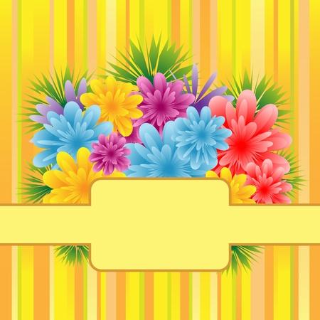 Flores para la celebración de día, aniversario o cumpleaños de madres se establecen sobre un fondo de rayas. Copiar el espacio para texto.