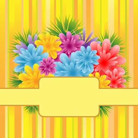Flowers for mothers day, anniversary or birthday celebration set on a striped background. Copy space for text. Stock Vector - 9040252