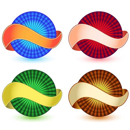 wrapped around: Banner wrapped around sphere with starburst center. Isolated on white. Illustration