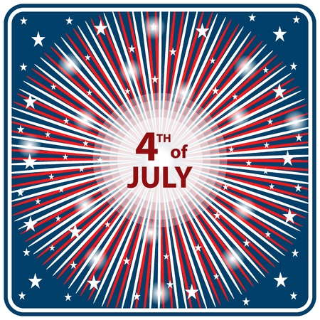 American flag colors in a starburst firework effect symbolizing 4th of July independence day celebrations. Vector