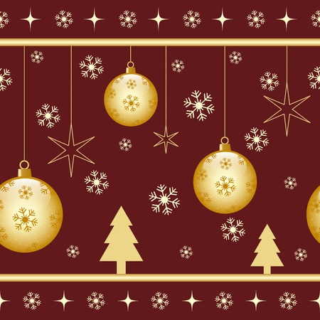 christmas seamless pattern: Christmas seamless pattern with gold xmas balls, stars, snowflakes and xmas trees on a dark background Illustration