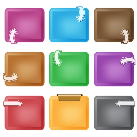 rounded squares: Business design elements. Curved arrows on bevelled boxes, assorted colors, copy space for text. Isolated on white.