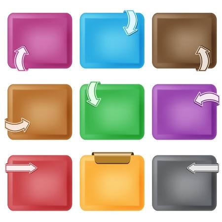 flechas curvas: Elementos de dise�o de negocios. Flechas curvas en cuadros biselados, de varios colores, copiar espacio para texto. Aislados en blanco. Vectores