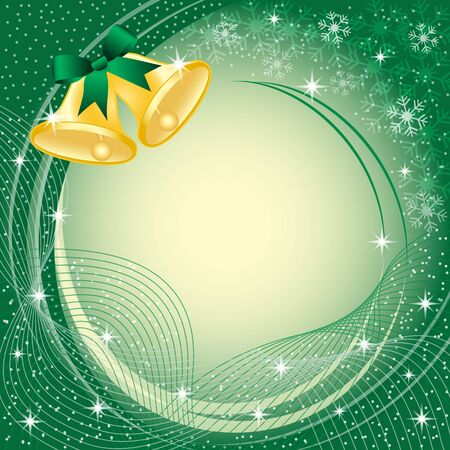 swooshes: Gold christmas bells with bow, snow, stars and snowflakes on green background. Copy space for text.