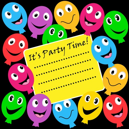 Balloons party invitation with happy faces in assorted colors on a black background. Copy space for text. Stock Vector - 9716571