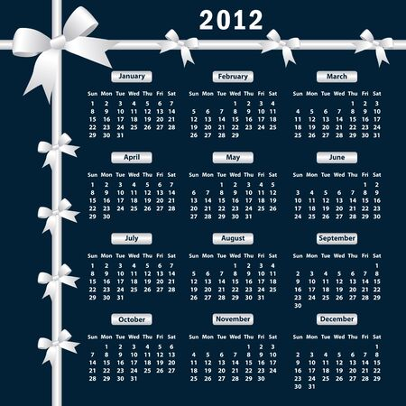 Calendar 2012 year with white bows on a dark background. Stock Vector - 9898478