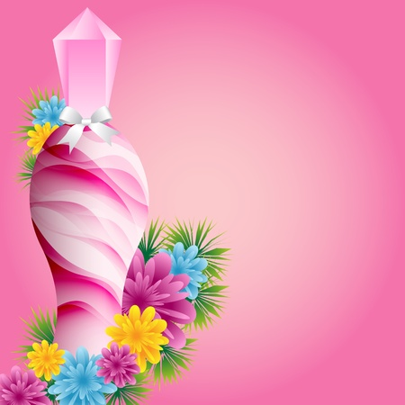Perfume bottle with flowers and white bow set on a pink background. Copy space for text.