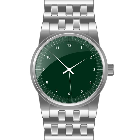 Silver watch with silver wrist band, dark green shiny clock face. Classical modern watch. Isolated on white.  Stock Vector - 9898479