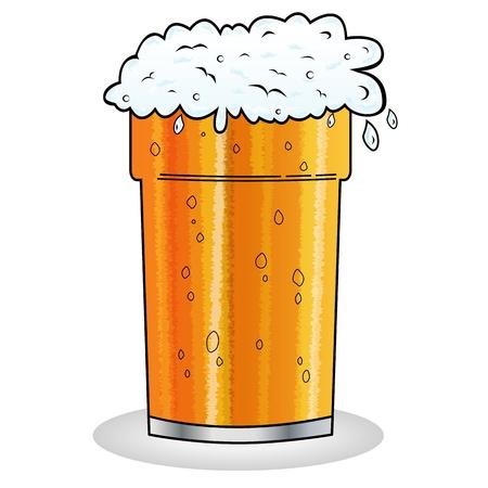 beer pint: Medio litro de cerveza con espuma colgando sobre el borde de cristal en el estilo de dibujos animados. Aislado en blanco.