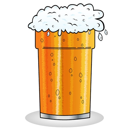 Pint of beer with froth hanging over edge of glass in cartoon style. Isolated on white. Illustration