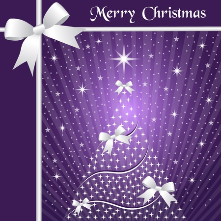 Christmas tree with silver ribbons or bows, sunburst, snow and stars on a purple background. Vector