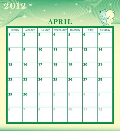 Calendar 2012 April month with large date boxes. Cartoon characters and patterned background. Vector