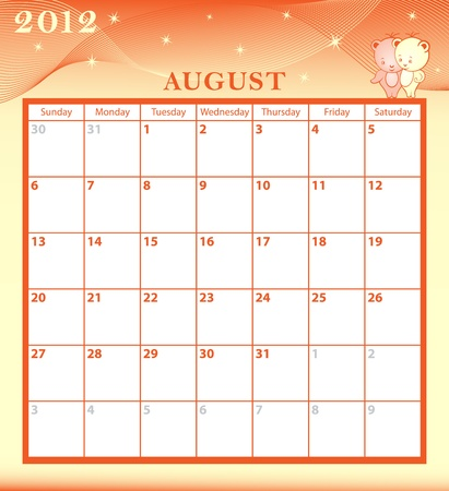 Calendar 2012 August month with large date boxes. Cartoon characters and patterned background.