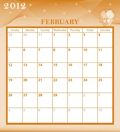 Calendar 2012 February month with large date boxes. Cartoon characters and patterned background. Vector
