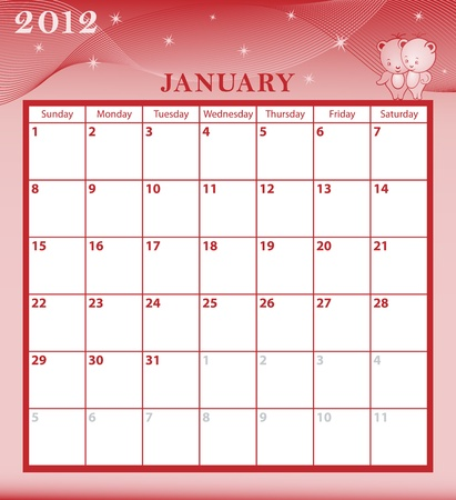 Calendar 2012 January month with large date boxes. Cartoon characters and patterned background. Vector